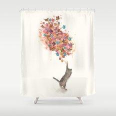 catching butterflies Shower Curtain