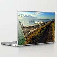 Laptop & iPad Skin featuring Dover Docks from the White Cliffs by Serenity Photography