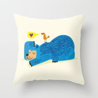 The Bear and The Bird Throw Pillow
