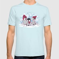 Snow Penguins Mens Fitted Tee Light Blue SMALL