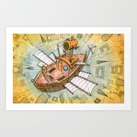 Atlantis Flying Ship #1 Art Print