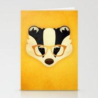 Hipster Badger: Gold Stationery Cards