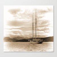 Schooner In Sepia Canvas Print