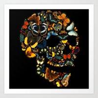 Butterfly Skull Vintage Art Print