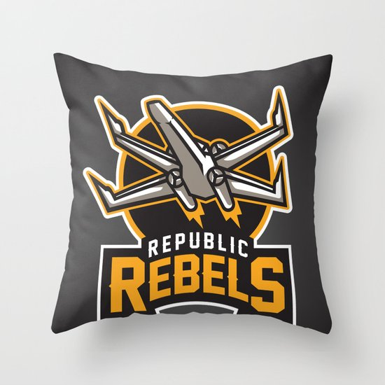 Republic Rebels - Black Throw Pillow