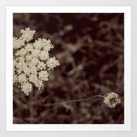 Lace Black and White Flower Art Print