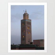Marrakech, Morocco. Glowing Mosque Art Print