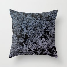 Snaky Fleur, Blue Fade Throw Pillow