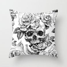 Black and White skull with roses pen drawing Throw Pillow