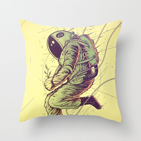 Green Mission Throw Pillow