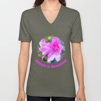 Pretty Purple Garden Flo… Unisex V-Neck