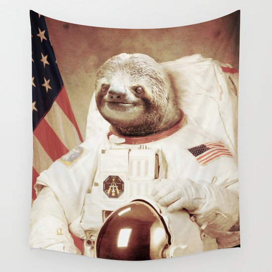 Sloth Astronaut Wall Tapestry by Bakus | Society6