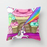 Unicorn And Ice Cream Ki… Throw Pillow