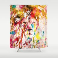 Shower Curtain featuring Wild Lion Sketch Abstrac… by Girly Road