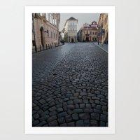 Cobbled Street, Prague  Art Print