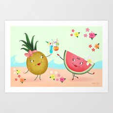 Pineapple And Watermelon Art Print