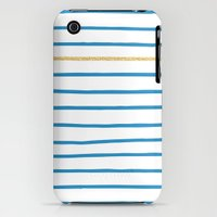 iPhone 3Gs & iPhone 3G Cases featuring Blue French Paris Stripe Pattern with Gold by evannave