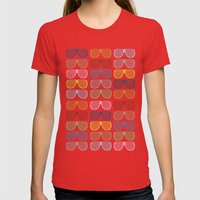 Rainbow Shutter Shades Womens Fitted Tee Red SMALL