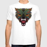 wolf fight flight ochre Mens Fitted Tee White SMALL