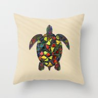 Animal Mosaic - The Turt… Throw Pillow