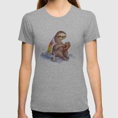 Sloth Womens Fitted Tee Athletic Grey SMALL