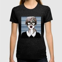 Girl And Blue Pattern Womens Fitted Tee Tri-Black SMALL