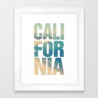 California Vintage Beach Summer Typography Framed Art Print