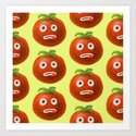 Funny Cartoon Tomato Pattern Art Print