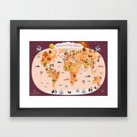 Worldwide Map For Kids. Framed Art Print