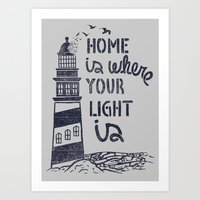 Home Is Where Your Light… Art Print