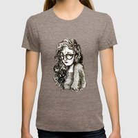 Girl with glasses Womens Fitted Tee Tri-Coffee SMALL