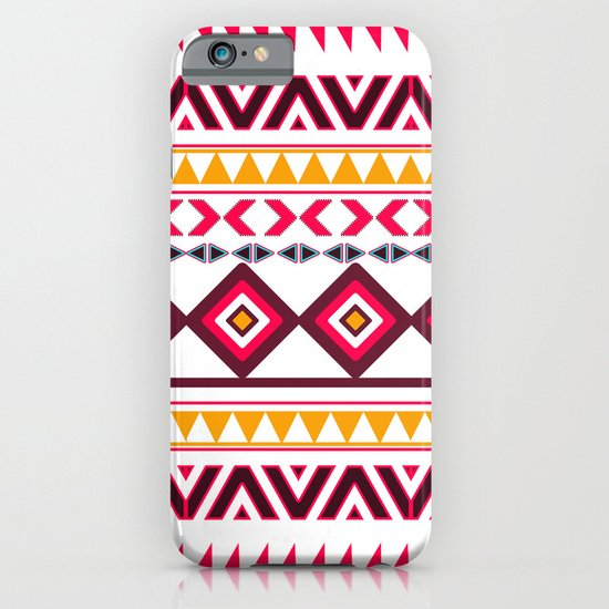 Pink Orange Bright Andes Abstract Aztec Pattern iPhone & iPod Case