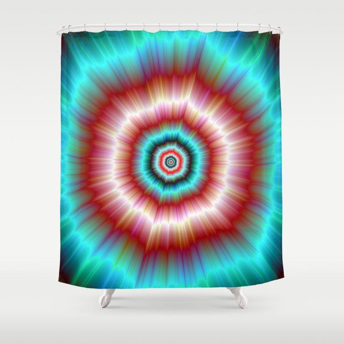 Red And Blue Exploding Doughnut Shower Curtain By Objowl Society6