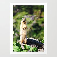 Angry Squirrel Has A Fri… Art Print