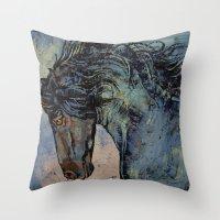 Friesian Stallion Throw Pillow
