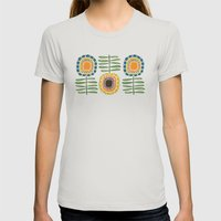 MCM Sunflowers Womens Fitted Tee Silver SMALL