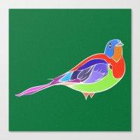 Bird - Green Canvas Print