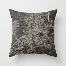 Madrid Map Ink Lines 2 Throw Pillow