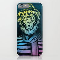 iPhone & iPod Case featuring Hipster Lion Black and White by Brewer Arts