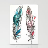You & Me Feathers Stationery Cards