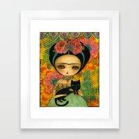 Frida And Her Cat Framed Art Print