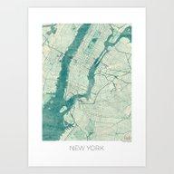 New York Map Blue Vintag… Art Print