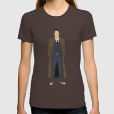 David Tennant as Dr Who Womens Fitted Tee Brown SMALL