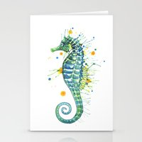 Seahorse: Green Stationery Cards