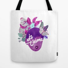 Je T'aime Typography  Tote Bag
