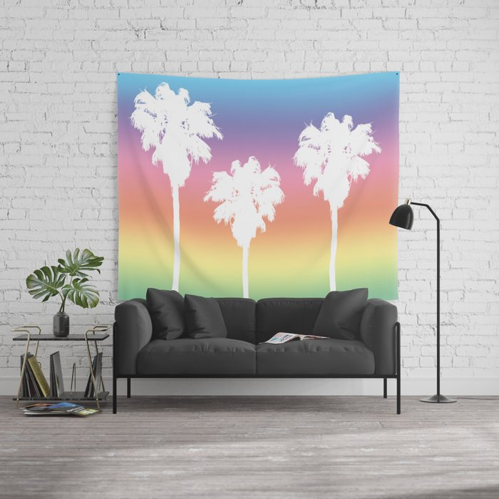 rainbow palm tree sunset wall tapestry dorm room decor