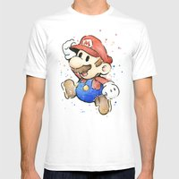 Mario Watercolor Mens Fitted Tee White SMALL