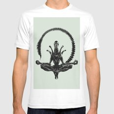 Meditation Alien Mens Fitted Tee White SMALL