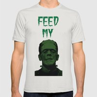 Feed My Frankenstein Mens Fitted Tee Silver SMALL