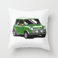 Mini Cooper Car - Britis… Throw Pillow